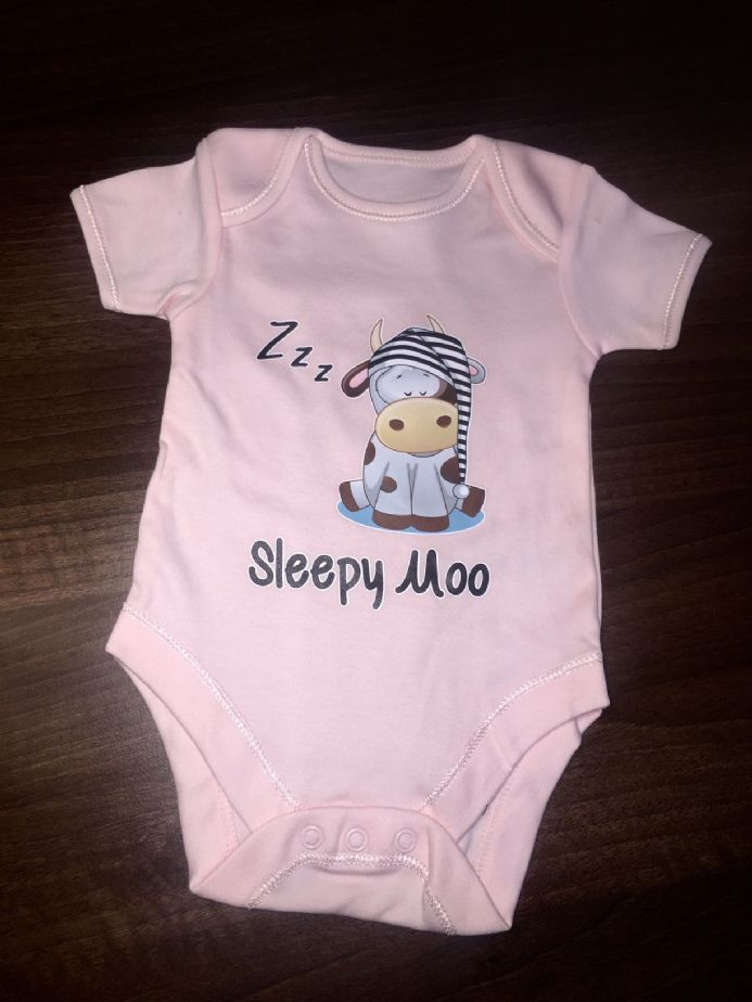 Sleepy Moo Printed Babygro